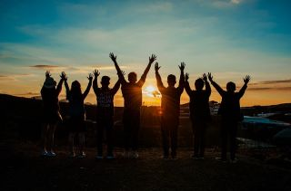 Amici, Sunrise, Giovane, Felice, Amicizia, Tramonto